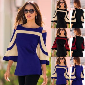 2018 Women Blouse Black Colorblock Bell Sleeve Cold Shoulder Top Mujer Camisa Feminina Office Ladies Clothes
