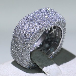 Wedding 5-10 Lovers Jewelry Luxury Ring Silver Fill White Mirco Full 925 Diamond CZ Sapphire Sterling Ring Size Women Band Promise For Brrl