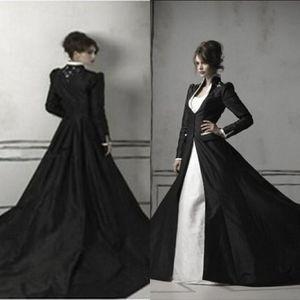 Gothic Schwarz und Weiß Meerjungfrau Brautkleider mit langen Ärmeln Mantel Schatz Trompete Kapelle Zug Satin und Spitze Brautkleider 2 in 1