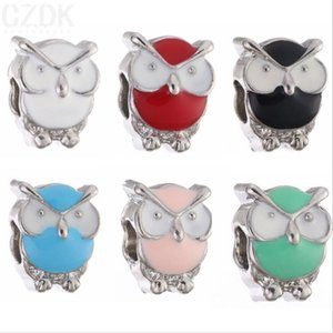 Wholesale 50PCS Fashion Alloy metal Silver Cute Enamle Owl Beads fit European Charm bracelet DIY Jewelry For Women RHB49
