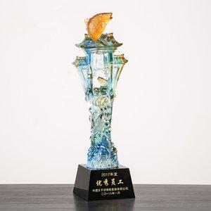 Цветная глазурь высокого класса хрустальный кубок трофей творческий карп прыжок longmen компания эксклюзивный трофей в партии награды трофеи