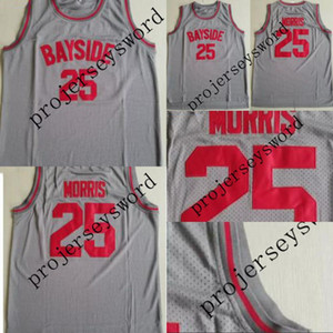 Mens 25 Zack Morris BAYSIDE Blue movie Jersey 100% Stitched Basketball Jerseys Grey High Quality Fast Shipping