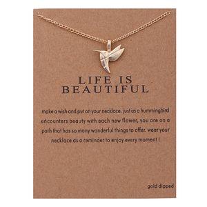 Moda NO Dogeared LOGO Nuevo Llegó Joyería de Moda Plateado La vida es hermosa Bird Chocker Collar Colgante Para Las Mujeres niña