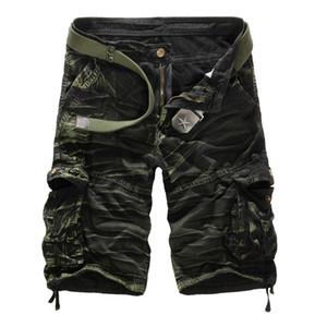 Homens Camuflagem Carga Shorts Da Marca Do Exército Masculino Carga Solta Calças Dos Homens de Trabalho Ocasional Calças Curtas Plus Size Sem Cinto