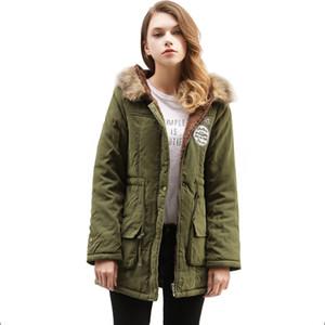 Chaqueta Ropa de Navidad del invierno mujeres de la manera caliente de la capa larga de las mujeres Parka capucha de piel Bombardero chaqueta delgada cazadora mujer chaqueta