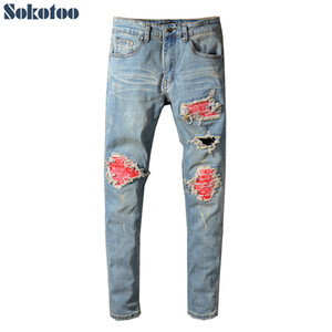 Sokotoo Men's red printed patch biker jeans for moto Skinny patchwork holes ripped stretch denim pants