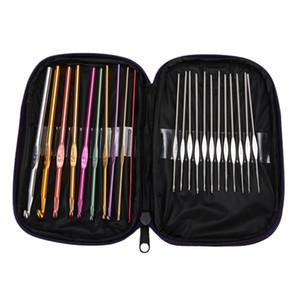 22pcs Multi Colored Aluminium Crochet Hooks Stricknadeln Set Weave Craft mit Tasche Metall Nähzubehör