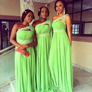 2020 Nuovo africano Lime Green Satin Abiti da una spalla merletto in rilievo maniche lunghe Bridemaids promenade abbiglia i vestiti da partito di nozze