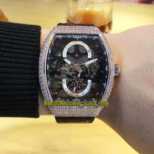 Yüksek kaliteli erkek koleksiyonu Vanguard V 45 S6 SQT NR BR (NR) Siyah İskelet Arama Otomatik Erkek İzle Buzlu Diamonds Vaka Spor Saatler