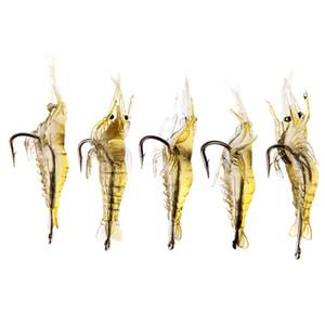 5 teile / los Weiche Silikon Simulation Fischköder Shrimp Prawn Köder Künstliche Köder Mit Swivel Gelb Fischgeruch Einzelhaken 4 cm