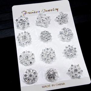 12PCS Mixed Flower Crystal Silver Plated Aleación Broches High Quality Fashion Wedding Cake Flower Pins Girls Pretty Collar Pins