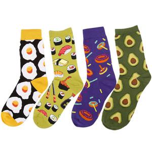 Nette Frauen-Ei-Sushi-Krapfen-Avocado-Mannschafts-Socke Kawaii lustige Unisexlachssashimi-Omelett-Sushi-bunte Geschenk-Socken
