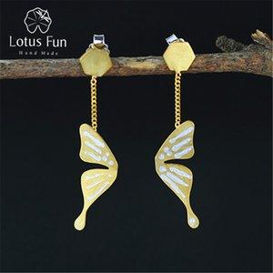 Lotus Fun real prata esterlina 925 Natural criativa Handmade Fine Jewelry Borboleta Moda brincos para mulheres Brincos