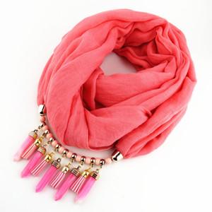 Fashion Stone Scarf Necklace Scarves Women Necklace Scarf Lady Tassel Caldo autunno gioielli bohémien