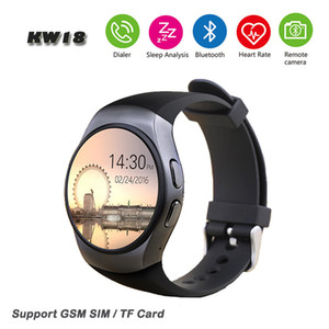 KW18 Soporte de reloj inteligente Monitor de ritmo cardíaco Mensaje de tarjeta SIM Push Bluetooth Smartwatch Reloj deportivo para Android IOS