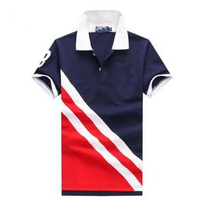 2018 Nouveau 3 Couleur twill Revers À Manches Courtes Grand Cheval Polo T-shirt Homme 100% Coton De Luxe Polo Sport
