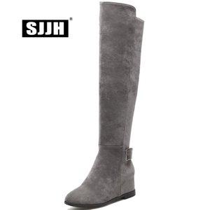SJJH Mujer Nubuck Riding Boots con punta del dedo del pie Altura creciente Zip Rodilla-Alto Botas de felpa Moda Zapatos casuales de gran tamaño Q357
