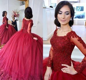 2020 Bourgogne Puffy robe de bal Quinceanera Robes à encolure dégagée à manches longues en dentelle perlée Applique partie du bonbon 16 Pageant Prom Robes de soirée