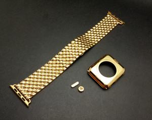 24k banhado a ouro de aço inoxidável de cristal de ouro middle frame case + pulseira de relógio de aço inoxidável de ouro para a apple watch s1 42mm