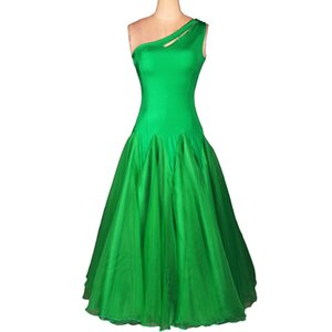Standard Ballroom Dress Ballroom Dance Competition Dresses Waltz Dress Tango 3 Colors D0106 Big Sheer Hem 1 Shoulder