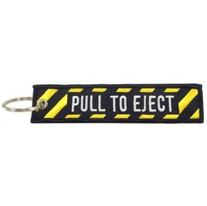 PULL EJECT İşlemeli Anahtarlık Özel İşlemeli Kumaş Anahtarlık 13 x 2.8 cm Çıkarmak için Çekin