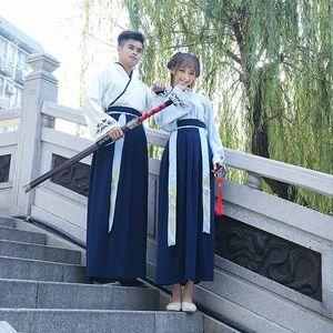 Chino tradicional Han Dynasty Swordsman Cosplay Traje Nacional Hanfu Ropa Hombres Mujeres Oriental Folk Dance Dance
