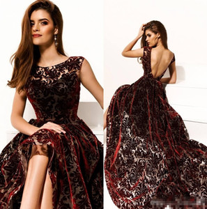 Modern Burgundy High Low Formal Evening Dresses 2018 A Line Scoop Neck Backless Lace floral prom occasion Wear Long Train Celebrity Gowns