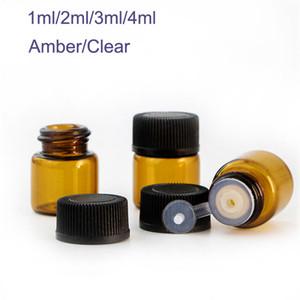 1 ml 2 ml 3 ml 4 ml Drams Amber / Plastik Kapaklı Berrak Cam Şişeler Uçucu Yağ Cam Şişeler Parfüm Numune Testi Şişe