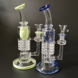 Tubi Torus Glass Bong Ratchet Perc Dab Rigs invertito soffione acqua Spesso Verde Blu Vetro Pipe Barrel Perc Bent Tipo Con Bowl YQ02