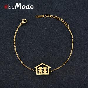ELSEMODE Romantico Gemelli Love Family Bracciali per donne Ragazze Titanio Acciaio inossidabile Oro Lucky Anniversary Jewelry