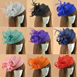Elegante Fascinators royal Fascinators Cappello Fascinator Donne Lino Feather Hat Accessori per capelli Festa nuziale Feather Race