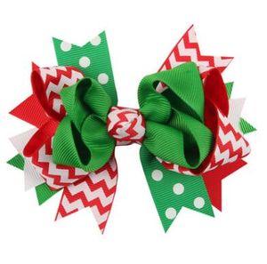 13 ragazze di disegno di Natale Hairband Barrettes principessa Layered Bow Dot Stampa clip di capelli dei bambini Santa Claus accessori per capelli