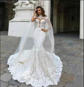 2018 Великолепные свадебные платья русалки с запахом Милая прозрачная задняя часть кружева Аппликация Часовня Поезд Дубай Свадебные платья на заказ