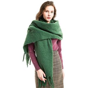 Nueva Llegada Moda Otoño Invierno Gruesa Bufanda de Las Mujeres Chales Llanos Nuevo diseñador Borla de Lujo de colores sólidos Pañuelos para las mujeres