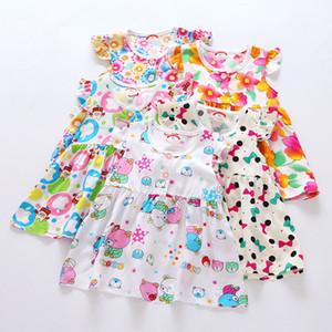 Vestiti floreali della neonata Vestiti della neonata Vestiti del manicotto di estate del cotone delle increspature dell'innamorato del manicotto del collo rotondo di progettazione della miscela 5pcs per lotto