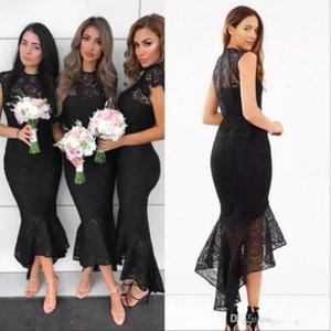 Black Lace Mermaid Long Bridesmaid Dresses Arabic Cap Sleeves High Low Wedding Bridal Guest Party Maid Of Honor Dresses BM0930
