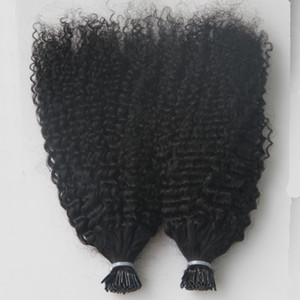 Virgin Mongolian Afro Kinky Cheveux Curly Head Head 200g I Tip Tip Extensions de cheveux Humaines Pred Kératine Stick Tip Extensions de cheveux 200S
