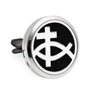 Aroma locket Aceite esencial Difusor de coche Medallón de aire Fresh Vent Clip Jesus fish Colgante Medallón de perfume Magnético Aleatoriamente 10pcs Almohadillas como regalo