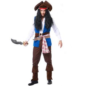 Cosplay Piratenkostüm Herren Blue Pirate Kostüm Pirate Captain Kostüm Halloween Herren Spielbekleidung 2017 meistverkaufte Produkte