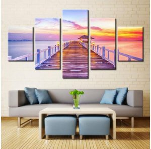 캔버스 회화 거실 홈 인테리어 포스터를 들어 5 개 일몰 나무 다리 풍경 벽 그림에 HD 인쇄