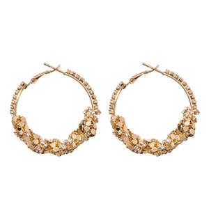 Declaración de lujo geométrica gran círculo del aro del oro de la plata de las lentejuelas Vintaeg Druzy Pendientes mujeres de Boho joyería 2018