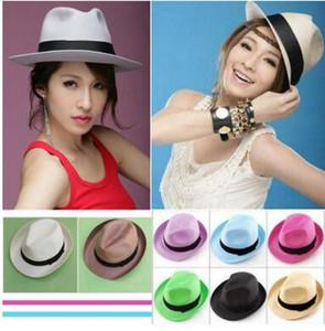 Mode Femmes Hommes Unisexe Fedora Trilby Gangster Cap Été Plage Soleil Paille Panama Chapeau Couples Amoureux Chapeau