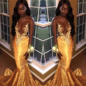 2018 Kadife Seksi Sheer Boyun Mermaid Gelinlik Altın Aplikler Afrika Siyah Kızlar Resmi Elbiseler Artı Boyutu Abiye giyim Vestidos De Festa