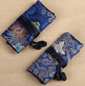 Chinois traditionnel style de mode de soie Femmes Bijoux Rouleau Voyage Stockage satin Sac Emballage Pochettes couleurs mélangées Livraison gratuite