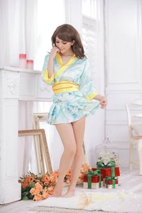 Envío gratis nueva lencería sexy cosplay Glamour Big Bow pijama uniforme de satén juego uniforme explosión Sexy Kimono verde