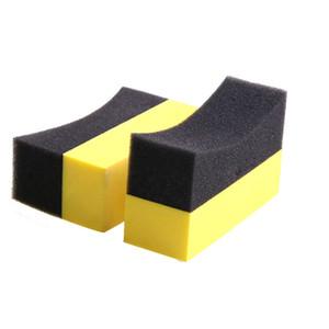 U pneu de voiture fartage Brosse de polissage des pneus Roues Applicateur de nettoyage courbe mousse lavage éponge Pad Noir + Jaune