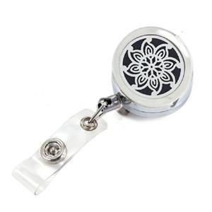 Lucky Flower Bauhinia Parfum Locket Badge Titulaire Argent Huile Essentielle Médaillon Porte-clés Nom Tag Titulaire Broche Bijoux