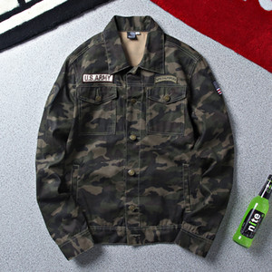 LENSTID  Autumn Army  Denim Jacket Men Camouflage Tactical Camouflage Casual Fashion Bomber Jeans Jackets Cowboy
