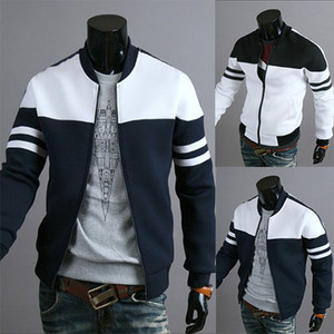 2018 winter Autumn Jacket Casual Zipper Sportswear Patchwork Jacket Long Sleeve Coat Slim Bomber Jacket Men Overcoat