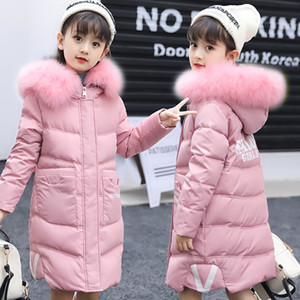 2018 New Fashion Children Winter Jacket Girl Winter Coat Kids Warm Thick Fur Collar Hooded Long Down Coats for Teenage